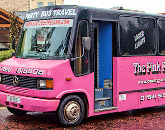 25 Seater Pink Panther Party Bus